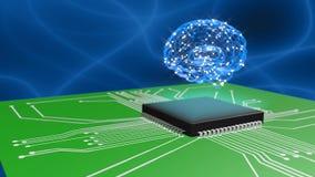 den konstgjorda hjärnan circuits mainboard för elektronisk intelligens för begrepp över stock video