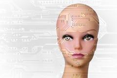 den konstgjorda hjärnan circuits mainboard för elektronisk intelligens för begrepp över royaltyfri bild