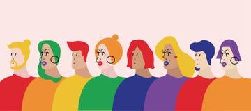 Den konstiga vektorillustrationen för gemenskap LGBTQ stock illustrationer
