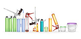 Den konstruktionsskum-, silikontätningsmedel-, lim- och målarfärgillustrationen av den realistiska flaskor 3D och behållaremodell royaltyfri illustrationer