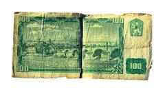 den 100 koruna räkningen av Tjeckoslovakien isolerade på vit bakgrund Royaltyfri Bild