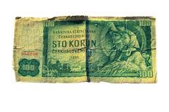 den 100 koruna räkningen av Tjeckoslovakien isolerade på vit bakgrund Arkivfoto