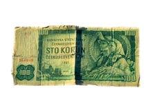 den 100 koruna räkningen av Tjeckoslovakien isolerade på vit bakgrund Fotografering för Bildbyråer