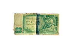 den 100 koruna räkningen av Tjeckoslovakien isolerade på vit bakgrund Royaltyfria Bilder