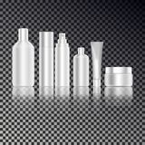 Den kosmetiska flaskuppsättningen för flytande, kräm, stelnar, lotion Packe för produkt för hudomsorg Modellflaskor och t vektor illustrationer