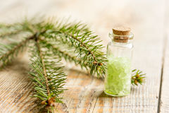 Den kosmetiska granen som är salt i flaskor med päls, förgrena sig på trätabellbakgrund Royaltyfri Foto