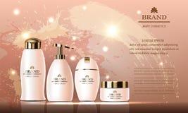 Den kosmetiska skönhetuppsättningen av kroppkräm, stelnar, schampo, tvål som packar för hudomsorg Arkivfoto
