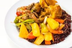 Den kostade-upp thailändska matmenyn är sås för bär för ris stekt söt och sur, fotografering för bildbyråer