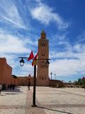 Den Koutoubia moskén Marrakech, Marocko är den mest besökte monumentet arkivbild