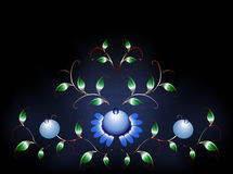 Den krabba modellen av blåa blommor på svärtar blåttgrunden illustration för diagram för fyrverkerier eps10 för bakgrund svart Royaltyfri Fotografi