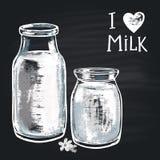 Den krita målade illustrationen mjölkar flaskan Uttryckskritan: Jag älskar mjölkar Arkivfoto