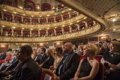 Den kroatiska nationella teatern under operanatt Royaltyfri Fotografi