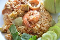 Den kryddiga stekte risräkan och griskött med aubergine i räka klistrar sås på maträtt Fotografering för Bildbyråer