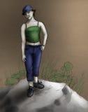 den kulöra flickan skissar tomboyen Royaltyfri Fotografi
