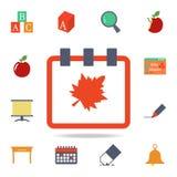 den kulöra symbolen för kalender Detaljerad uppsättning av kulöra utbildningssymboler Högvärdig grafisk design En av samlingssymb stock illustrationer