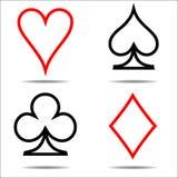 Den kulöra vektorn för kortdräktsymbolen som spelar cards symboler, en linje royaltyfri illustrationer