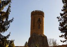 Den kungliga domstolen och Chindia tornet i Targoviste, Rumänien royaltyfri bild