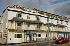 Den kungliga Yorken och Faulkner hotellet på promenaden i Sidmouth, Devon fotografering för bildbyråer