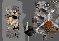 Den kusliga abstrakta illustrationen, grå färg formar med ögon Royaltyfri Foto