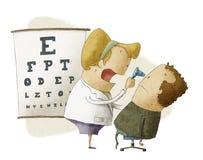 Den kvinnliga ögonläkaren undersöker tålmodign Royaltyfri Illustrationer