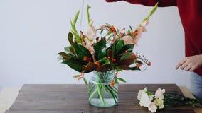 Den kvinnliga blomsterhandlaren sätter blommor, i en exponeringsglasvas och framställning av nya blom- ordningar Kvinna som välje arkivfilmer