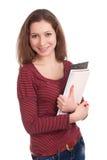Den kvinnliga deltagaren med bokar Arkivfoto