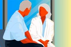 Den kvinnliga doktorn förklarar en manlig patient Royaltyfria Bilder
