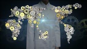 Den kvinnliga forskaren, den öppna teknikern gömma i handflatan, stålsätter guld- kugghjul som gör den globala världskartan globa royaltyfri illustrationer