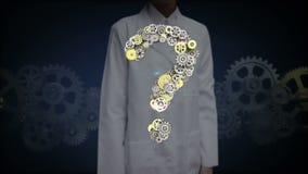 Den kvinnliga forskaren, den öppna teknikern gömma i handflatan, stålsätter guld- kugghjul som gör frågan fläcken för att forma v vektor illustrationer