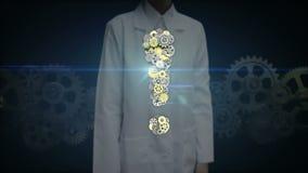 Den kvinnliga forskaren, doktorsklappkugghjul, stålsätter guld- kugghjul som gör utropsteckenet för att forma stock illustrationer