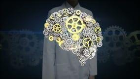 Den kvinnliga forskaren, iscensätter den rörande skärmen, guld- kugghjul för stål som gör den mänskliga hjärnan för att forma män vektor illustrationer