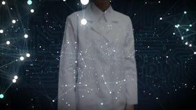 Den kvinnliga forskaren, teknikerhandlag som den mänskliga symbolen förbinder den globala världskartan, prick, gör global kommuni stock illustrationer