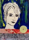 Den kvinnliga framsidan skissar Arkivfoto