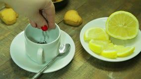 Den kvinnliga handen häller svart te i en vit kopp lager videofilmer