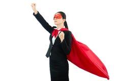 Den kvinnliga hjälten som är klar att gå, och flugan för sparar världen Arkivbild