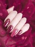 Den kvinnliga innegrejen för handmanikyrpolermedel snör åt idérik estetik som är stilfull, elegans arkivfoto