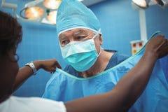 Den kvinnliga kirurgen som hjälper hennes medarbetare, i att bära, skurar Royaltyfria Bilder