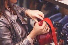 Den kvinnliga kunden som inhandlar den nya handväskan shoppar in fotografering för bildbyråer