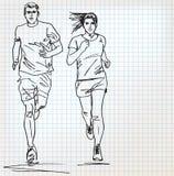 Den kvinnliga och manliga löparen skissar illustrationen Arkivbild