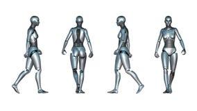 Den kvinnliga roboten går öglan royaltyfri illustrationer