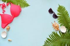Den kvinnliga sommarbikinibaddräkten och tillbehörcollage på blått med gömma i handflatan filialer, hatten och solglasögon royaltyfri fotografi