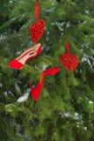 Den kvinnliga stilfulla tillbehören utrustar uppsättningen: lyxiga röda skor och två hjärtor på snön täckte bakgrund för granträd royaltyfri bild