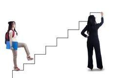 Den kvinnliga studenten följer trappahandboken Arkivfoton