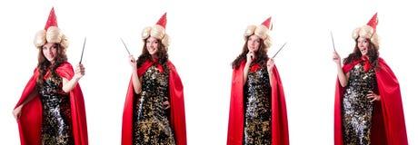 Den kvinnliga trollkarlen som isoleras på vit Royaltyfri Fotografi