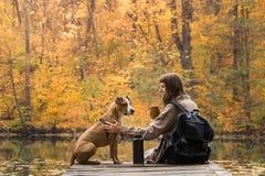 Den kvinnliga turisten sitter med hunden nära sjön och tycker om härlig höstsikt som dricker koppen kaffe royaltyfria foton