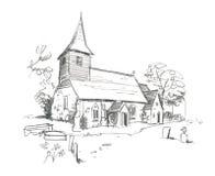 den kyrkliga blyertspennan skissar royaltyfri illustrationer