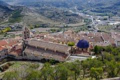 Den kyrkliga Santa Maria la Mayor i Morella Spanien Fotografering för Bildbyråer