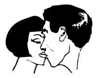 Den kyssande manen och kvinnan kopplar ihop popkonstillustrationen Arkivbilder