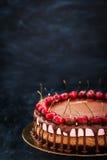 Den läckra choklad- och körsbärostkakaefterrätten dekorerade med Arkivbilder