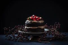 Den läckra chokladkakan med jordgubben och ost lagar mat med grädde Royaltyfria Bilder